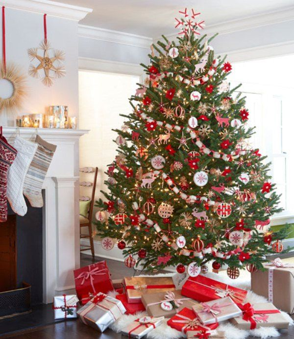 Marvelous Red Silver Christmas Tree Decorating Ideas Part - 6: Christmas Trees